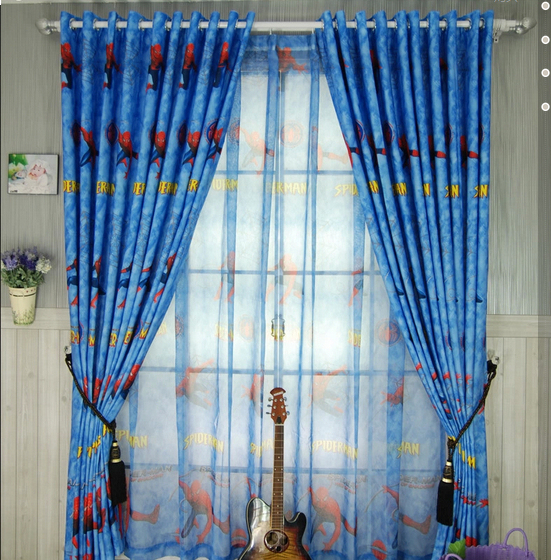 Living Room Curtain Brief Cartoon Boy Finished Products Child Piaochuang  Spiderman Curtains For Bedroom Lovely And