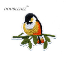 DOUBLEHEE 8.2cm*7cm Embroidered Iron On Patches Bird Tree 100% Embroidery Design T-shirt Bags Applique Accessories