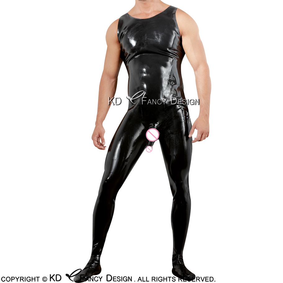 Black Sleeveless Sexy Latex Catsuit With Penis Sheath Feet Socks Rubber Bodysuit Overall Zentai Body Suit Plus Size LTY-0053