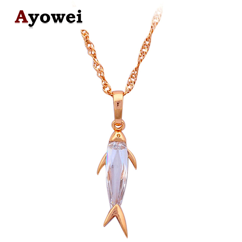 Lovely fish design innovative style gold tone white zircon fashion jewelry necklace pendants Design and style fashion jewelry