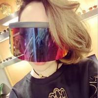 Negro Enorme de Gran Tamaño gafas de Sol de Los Hombres de La Vendimia 2018 de Una Pieza de La Lente Amarillo Rojo Grande Gafas de Sol de Las Mujeres A Prueba de Viento UV400