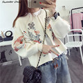 2016 new hot sale women's autumn winter o-neck long sleeve embroidery knit cardigans coat woman loose zipper sweaters coats