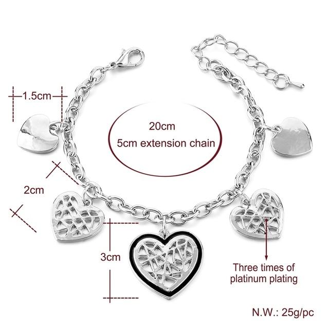 Классические золотые браслеты chicvie в форме сердца для женщин