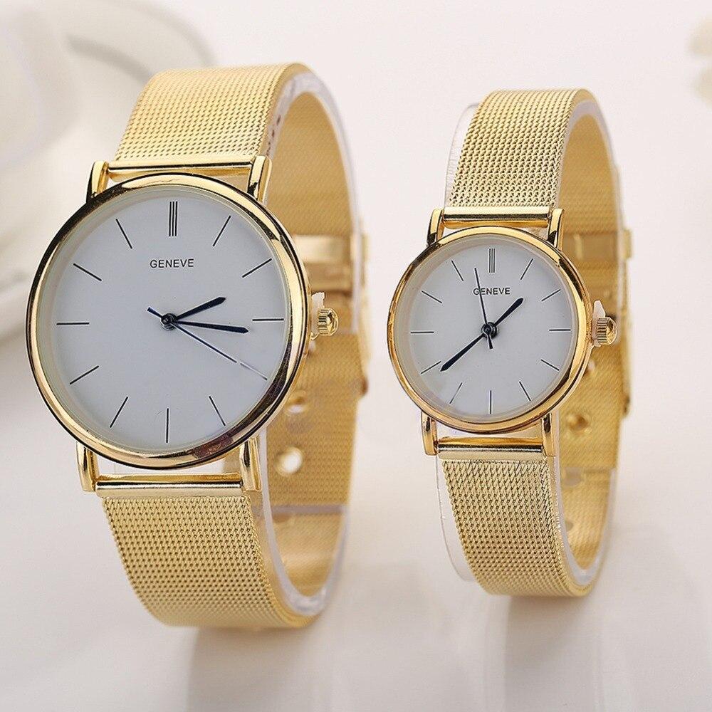 Geneva Jam Tangan Wanita Dan Pria Putih Strap Stainless Steel Gen Ferrari 0830307 Rubber Hitam Kuning Mewah Mesh Band Pasangan Kekasih Quartz Wrist Watch