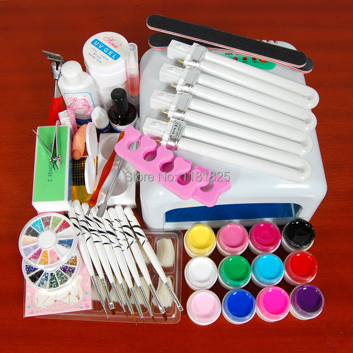 Pro 36W UV GEL White Lamp & 12 Color UV Gel Nail Art Tools Sets Kits new pro 36w uv gel white and pink lamp & 12 color uv gel nail art tools sets kits u 6