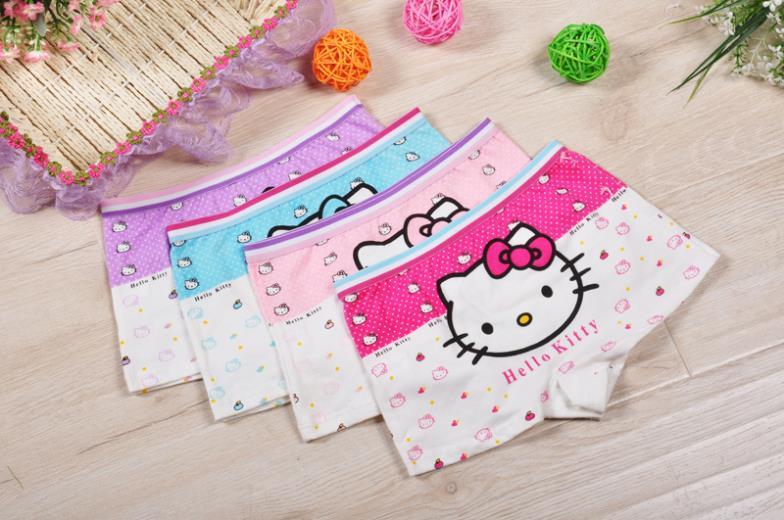 4pcs/lot  Girl Underwear Panties Girls Boxer Hello Kitty Hot Sale Children Short Pants Wholesale Cottonunderware Cartoon  81253