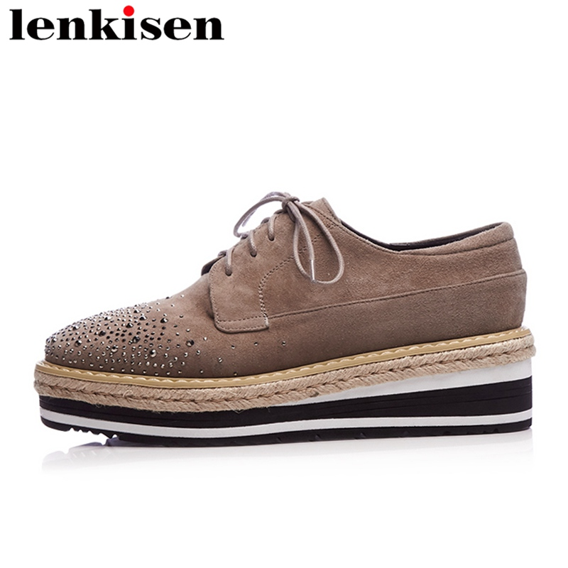 Lenkisen 2018 round lace up rivet Straw platform brand spring causal shoes wedges retro runway increasing solid women pumps L22