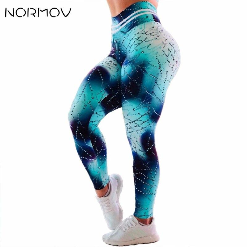 NORMOV Leggings deportivos para mujer Leggings de Fitness Entrenamiento para mujeres gotitas de agua 3D Leggings estampados deportivos pantalones de entrenamiento