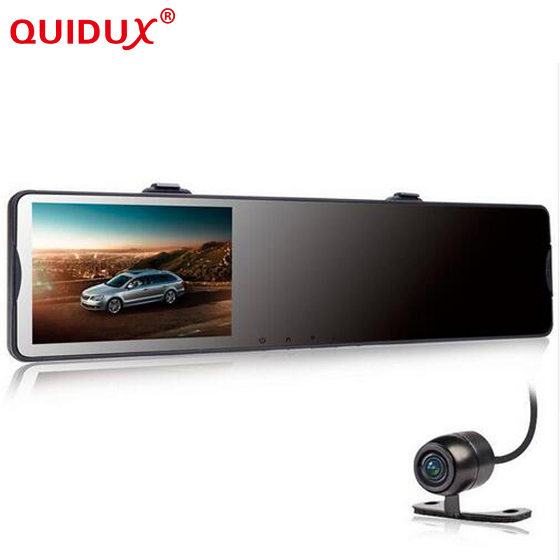 QUIDUX 4.3inch Car DVR Mirror Video Recorder Camcorder Car Rearview Mirror Camera 2 Lens Front Rear 1080P G-sensor For plusobd best car camera for bmw 5 series e60 e61 rearview mirror camera video recorder automobile car dvr cheapest camcorder