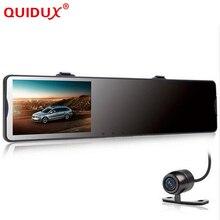 Quidux 4.3 дюйма Видеорегистраторы для автомобилей зеркало видео Регистраторы видеокамера Автомобильный Зеркало заднего вида Камера 2 объектива спереди и сзади 1080 P g-сенсор для