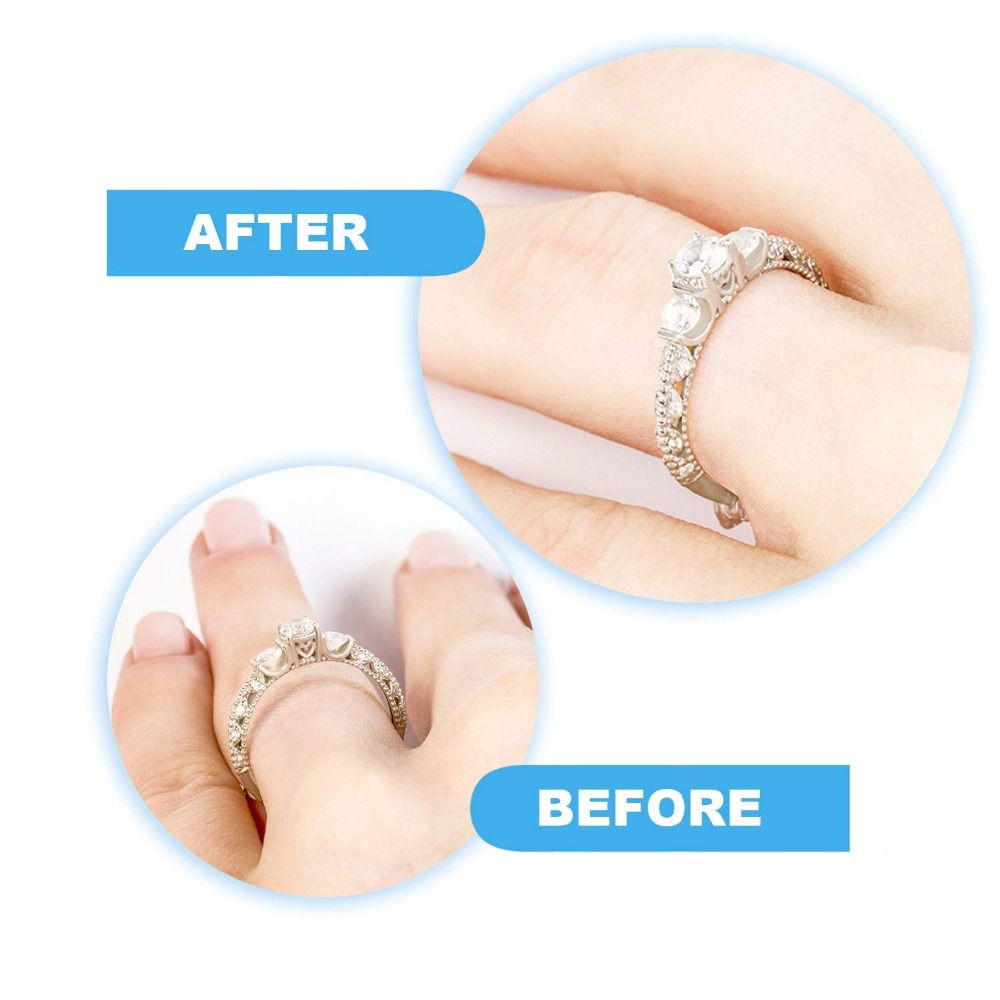 Ring Size Adjuster with Jewelry Polishing Cloth 2 Sizes Fit for Any Rings Clear Ring Sizer Perfect for Loose Rings Pack of 20 in DIY Craft Supplies from Home Garden