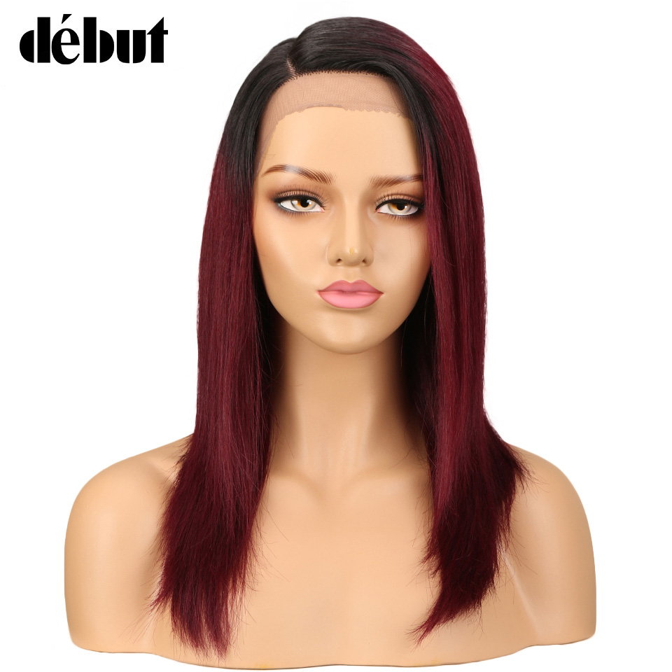 Debut Lace Front Human Hair Wigs For Black Women Brazilian Ombre Human Hair Wig Straight Blond Lace Front Wig Free Shippi
