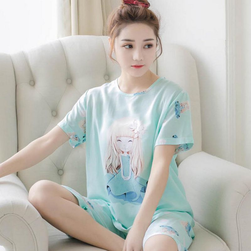 Summer   Pajamas     Set   Lovely Cute Girl Thin Women Short Sleepwear Suit Female Home Sleepwear   Set