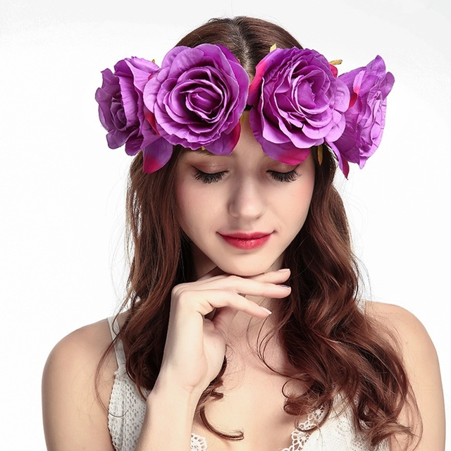 3308b4d8214 MAMAMOO Wedding Bezel Wreath Flower Headband for Women Floral Head Band  Spring Festival Photo Shoot Tiaras