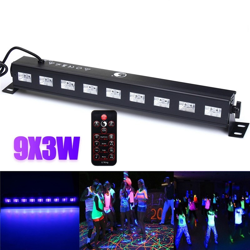 27W Wall Washer LED UV Stage Light Bar Black Disco Blacklight Lamp For DJ Party Christmas Decoration 9ledx3w uv wall washer led stage bar light for outdoor indoor decoration