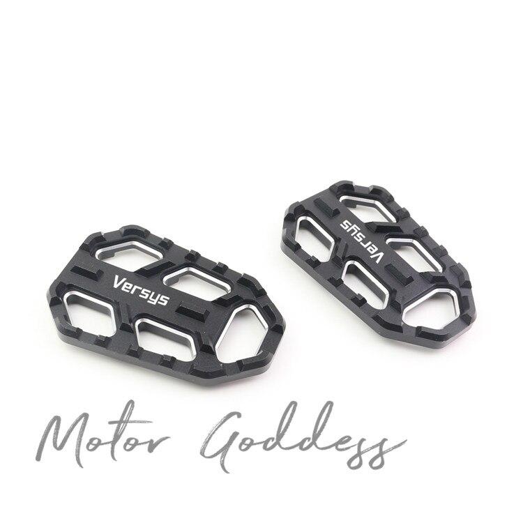 CNC Aluminum Billet Wide Foot Pegs Pedals Rest Footpegs For KAWASAKI Versys-X 300 X-300 KLE300 2017 2018 2019 KLE650 KLZ1000LT