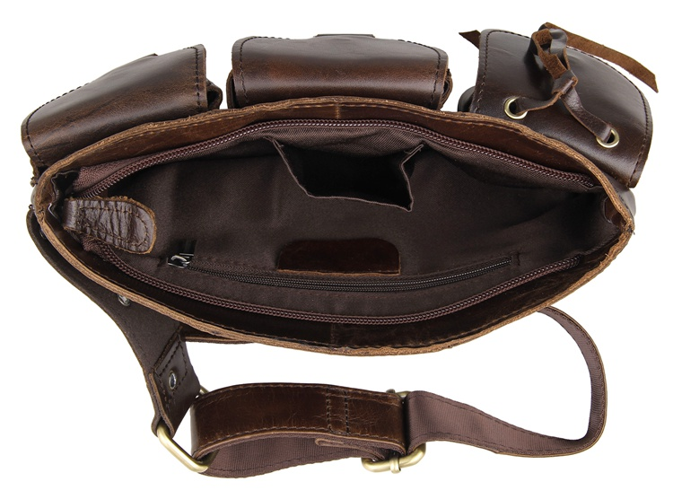 J M D Vintage Genuine Leather Waist Bag Dark Coffee Mens Leather Fanny Pack 3014Q in Waist Packs from Luggage Bags