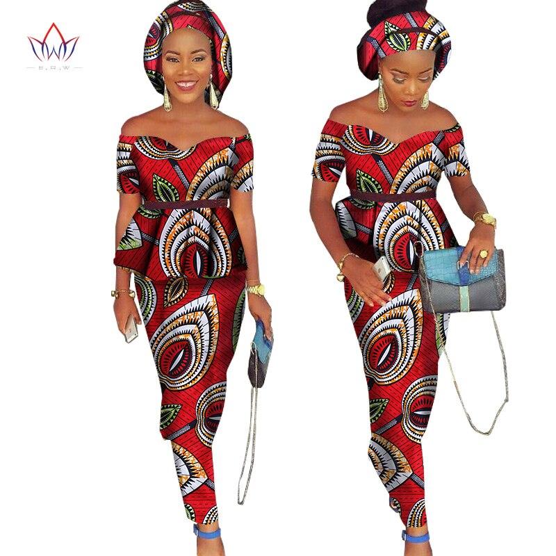 African Bazin Riche Klänning för Kvinnor 2 Pieces Set Tops & - Nationella kläder - Foto 4