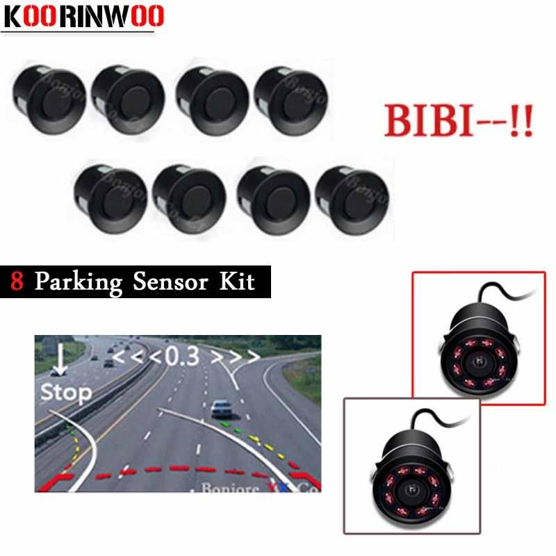 Koorinwoo capteurs de stationnement de voiture système de Guilde de stationnement en mouvement Parktronic 8 Radars alarme voiture de secours caméra de recul Auto Assistance