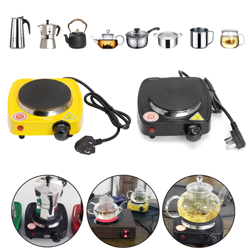 MEXI 500W Mini Stove Cooking Plate Small Coffee Milk Tea Heater Electric Hot Grill Burner Tools Home Kitchen Appliance-Yellow