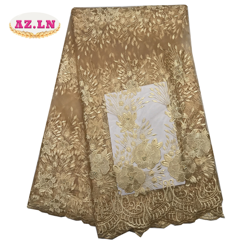 gold african lace fabric 2019 high quality lace french mesh fabric beaded stones nigerian swiss lace fabrics for dress A1