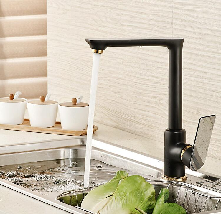 (5 Styles)New Arrivel Black/White Solid Brass Kitchen Mixer Cold & Hot Tap Single Hole Water Tap Spout Vessel Sink Faucet TP1120 led spout swivel spout kitchen faucet vessel sink mixer tap chrome finish solid brass free shipping hot sale