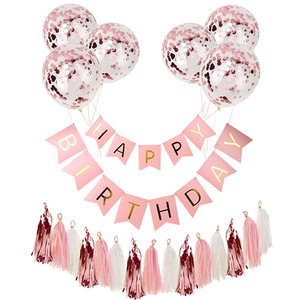 Happy Birthday Paper Banner Rose Gold Tassel Garland Party Decorations Adult Kids Baby First Boy Girl Confetti Balloon Supplies(China)