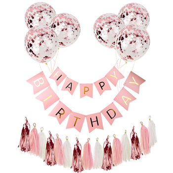 Happy Birthday Paper Banner Rose Gold Tassel Garland Party Decorations Adult Kids Baby First Boy Girl Confetti Balloon Supplies - discount item  25% OFF Festive & Party Supplies