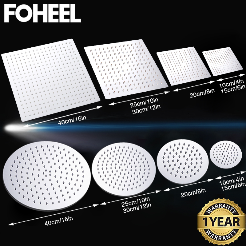 FOHEEL 16/12/10/8/6/4 Inch Round & Square Showerhead Stainless Steel Polished Chrome Wall Mounted Bathroom Rainfall Shower Heads