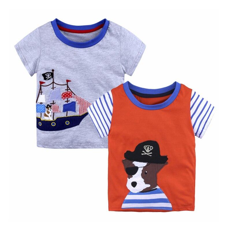 2018Children Short Sleeves T-shirts Boy Girls Summer 100%Cotton Cartoon Print Tee Tops Clothes Kids Game fashion style stripe