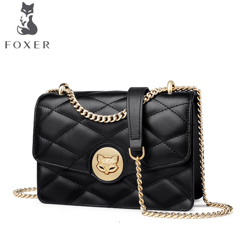 FOXER brand bag 2018 new Korean version of the mini fragrance rhombic chain bag shoulder bag Small square package jazzstar female bag small 2018 new wave korean version of the summer wild shoulder slung chain mini square bag