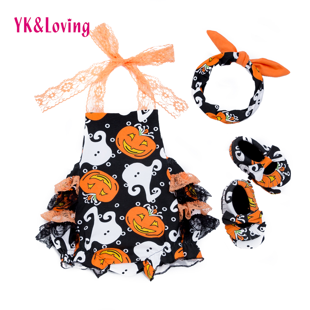 Halloween Newborn Romper Clothes 3 pcs sets 2018 New Baby Clothes Set Pumpkin Jumpsuit Overalls Girls Suit Infant Party Clothing puseky 2017 infant romper baby boys girls jumpsuit newborn bebe clothing hooded toddler baby clothes cute panda romper costumes