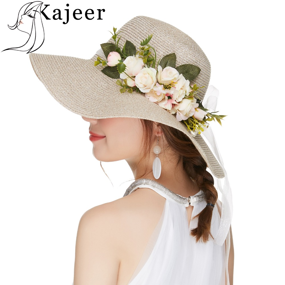 Kajeer Summer Tea Party Hats Women Floppy Foldable Cap Flowers Beach Straw  Sun Hats Female Wide Brim Sunhat Flat Cap Chapeau c1e8d44a7d3