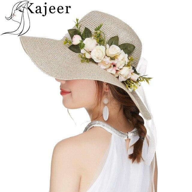 0ffdeab0ffc0c Kajeer Summer Tea Party Hats Women Floppy Foldable Cap Flowers Beach Straw  Sun Hats Female Wide Brim Sunhat Flat Cap Chapeau