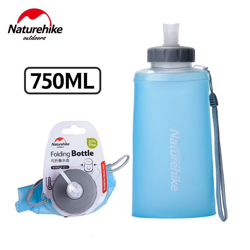 Naturehike 750ml Portable Water Bottles 2 Colors Outdoor Sport Silicone Folding Drinkware Camping Traveling Cycling Water Bag