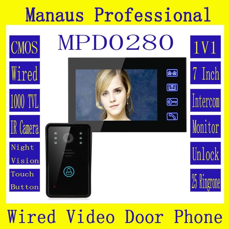 7 Inch  Video Door Phone Intercom Doorbell Touch Button Remote Unlock Night Vision Home Security CCTV Surveillance Camera D280a