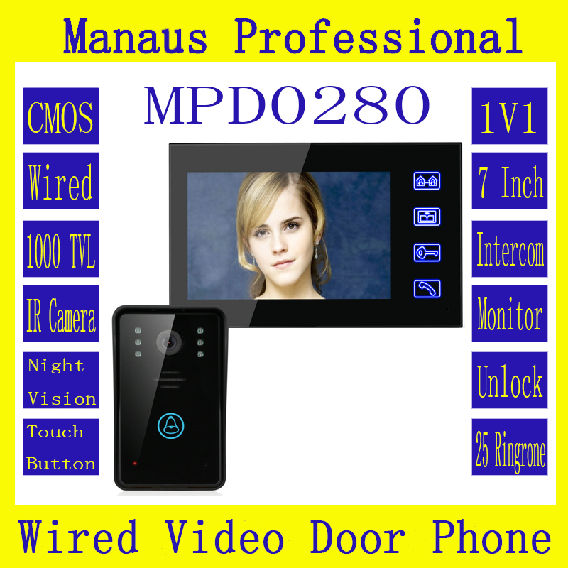 7 Inch Video Door Phone Intercom Doorbell Touch Button Remote Unlock Night Vision Home Security CCTV Surveillance Camera D280a