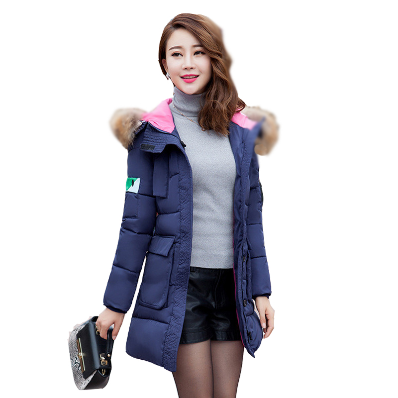 2016 New Down padded female women Korean Slim and long sections thicker jacket collar coat Women