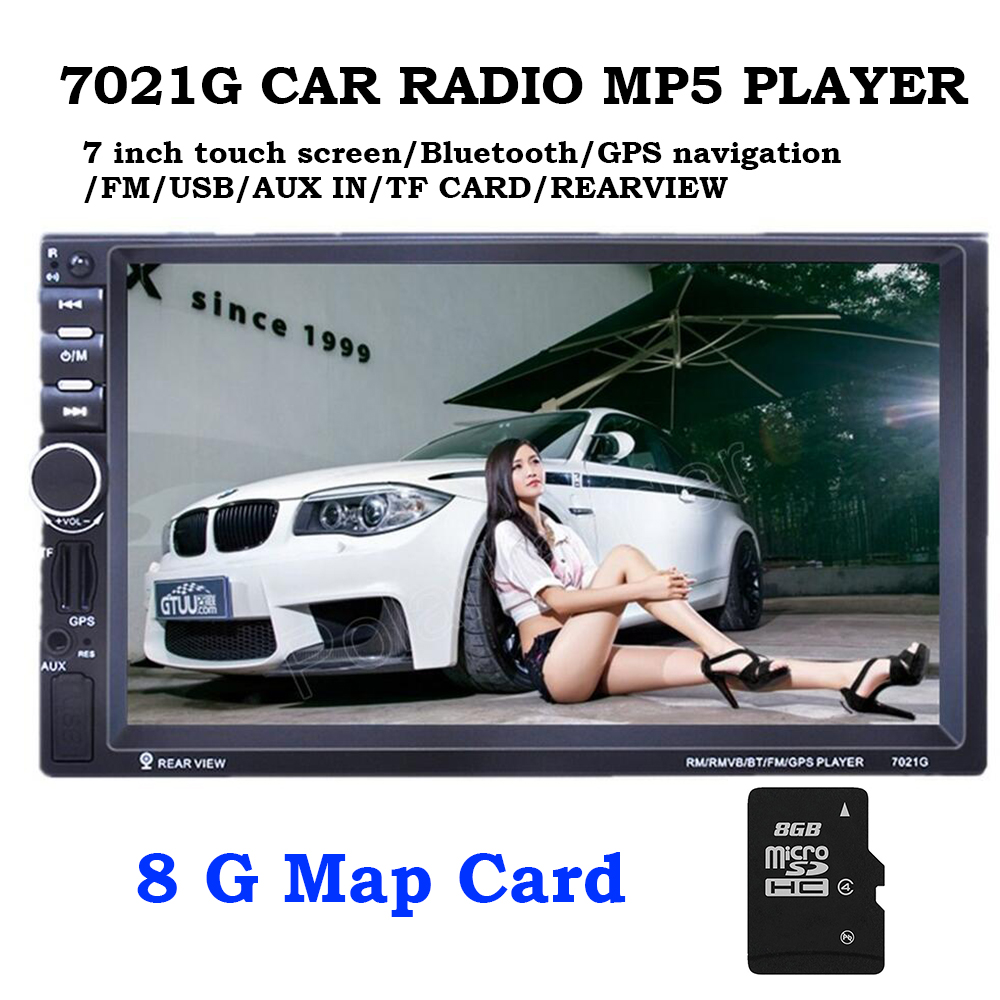 7021G 2 DIN car Radio MP5 Player Bluetooth GPS navigation 7 inch Audio Stereo FM 8G card rear view Auto Multimedia Player 7 2 din bluetooth auto car stereo mp5 player gps navigation support fm radio with rear view camera