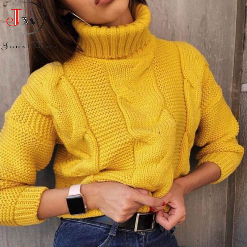 Autumn Winter Short Sweater Women Knitted Turtleneck Pullovers Casual Soft Jumper Fashion Long Sleeve Pull Femme