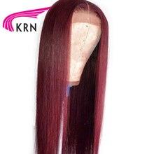 KRN 99J Омбре предварительно сорванные 13x4 кружевные передние человеческие волосы парики с детскими волосами прямые волосы remy бразильские кружевные передние парики