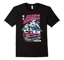 UFO T-Shirt Alien Flying Saucer Sci Fi 80s Vintage Retro Tee T Shirt Cotton Men Short Sleeve Tee Shirts