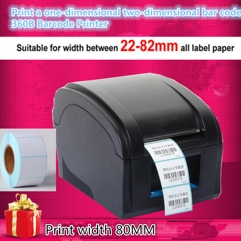 NEW Barcode label printers Thermal  clothing label printer Support 80mm printing Get Labels paper 1 Label printing paper Roll supermarket direct thermal printing label code printer