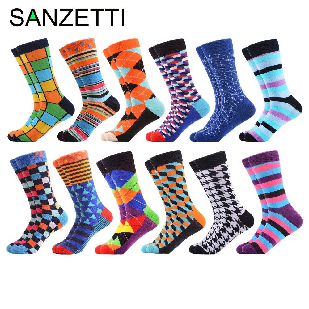 SANZETTI 12 Pairs/Lot Classic Colorful Men's