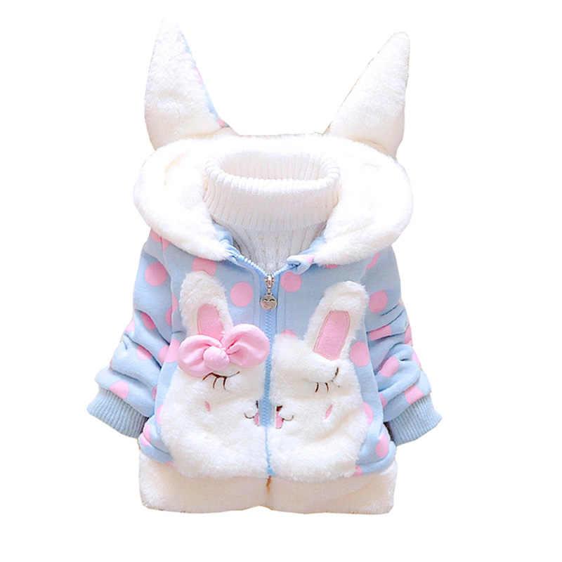 BibiCola น่ารัก Hooded หญิงเสื้อใหม่ฤดูใบไม้ร่วงฤดูหนาวการ์ตูนเด็กผู้หญิงแจ็คเก็ต Outerwear เด็กเสื้อผ้าเด็กทารกเสื้อแจ็คเก็ต
