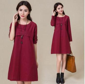 Loose Large Size Maternity Dresses 2020  Summer Long Sleeved Cotton linen Solid Pregnancy Dress Clothes for Pregnant Women
