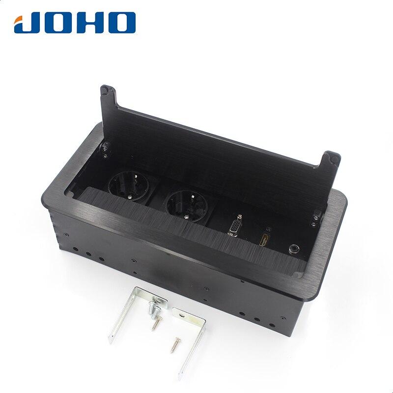 JOHO напольная розетка кисточки открытого типа настольный разъем алюминий сплав ЕС Plug Multi-function HDMI VGA интерфейс BS-102