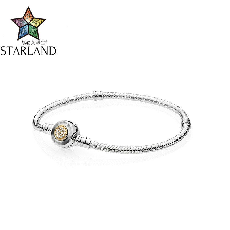 Starland 925 sterling silver snake chain 14K Gold pave Snowflake charm bracelet Fit brand jewelry 16cm 21cm