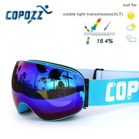 New COPOZZ Brand Professional Polarized Ski Goggles Double Lens UV400 Anti Fog Big Ski Glasses Skiing