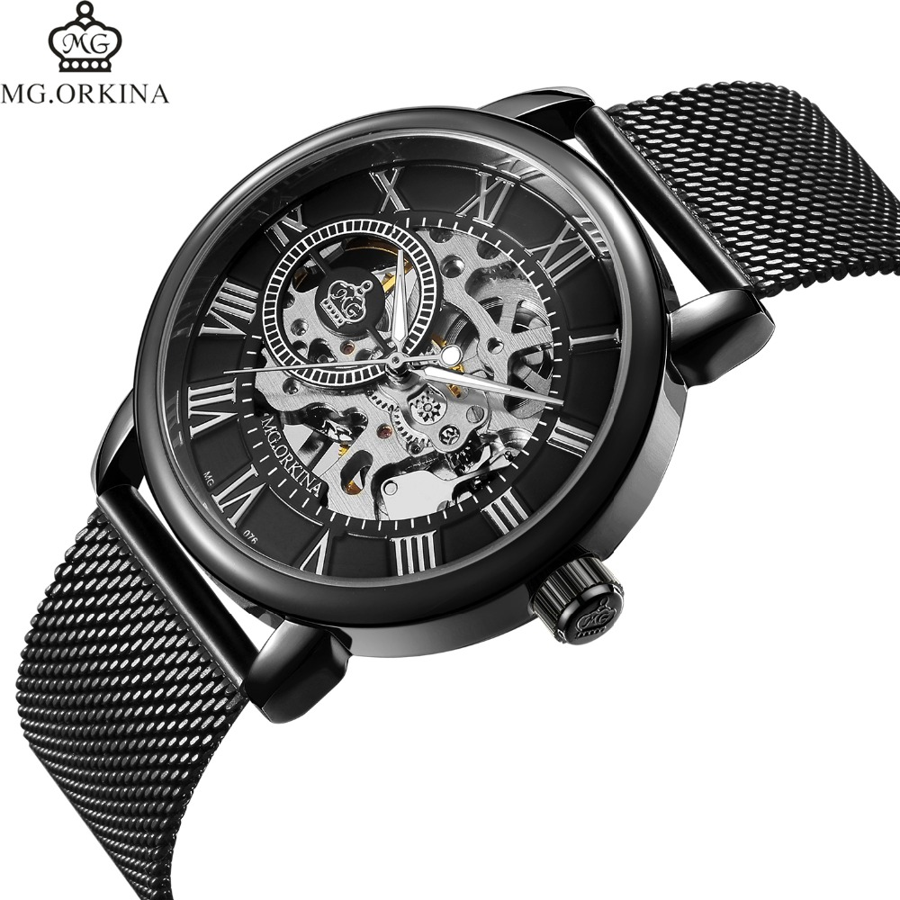Coupons Sale Men Watches Mechanical Hand Wind Luxury Top Brand ORKINA Skeleton Stainless Steel Bracelet Mesh Strap Men's Watches